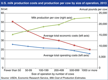 Larger operations squeeze out more milk at lower cost