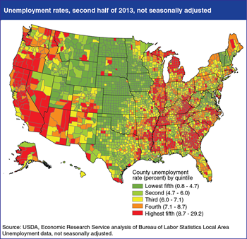 County unemployment rates reflect patterns established during the recession