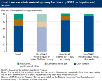 Nearly one-third of SNAP participants use someone else's car, walk, bike, or take public transit for their grocery shopping