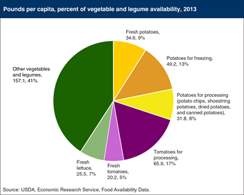 Potatoes, tomatoes, and lettuce make up close to 60 percent of U.S. vegetable and legume availability