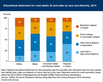Educational attainment rates were lower for rural minorities in 2014