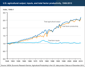 Productivity in U.S. agriculture, not increased input use, has fueled agricultural output growth