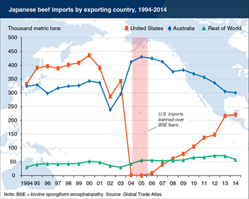 The United States and Australia compete to supply Japan's beef imports