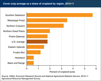 Southern regions in the U.S. have the highest rates of cover crop adoption