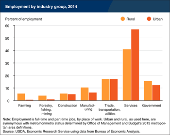 Service industries account for the largest share of rural and urban employment