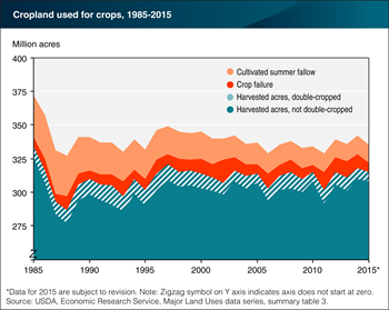 Land in active crop production dips in 2015