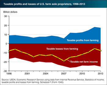 Taxable U.S. net income from farming remained negative in 2013