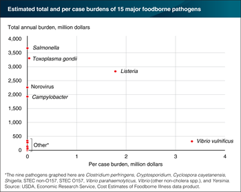 Six foodborne pathogens rank high on per case costs and/or total economic burden