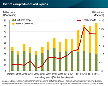 Corn production in Brazil is expanding