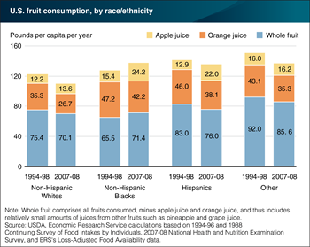 Non-Hispanic Blacks were the only racial/ethnic group to increase whole fruit and total fruit consumption between 1994-98 and 2007-08