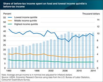 Share of income spent on food by poorer U.S. households is relatively large and volatile
