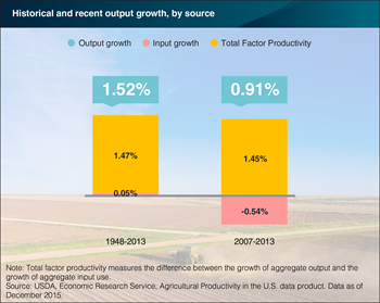 Gains in productivity drive growth in U.S. agricultural output