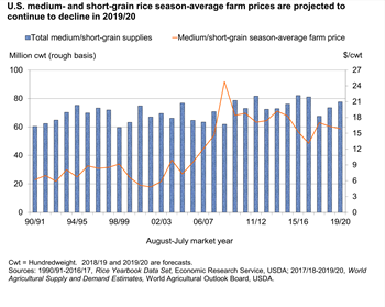 U.S. medium- and short-grain rice season-average farm prices are projected to continue to decline in 2019/20