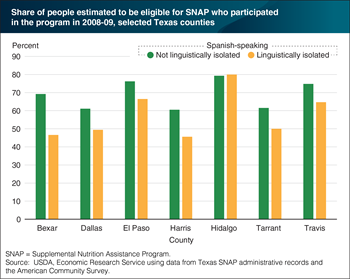 SNAP access rates in Texas are typically lower for Spanish speakers from linguistically isolated households