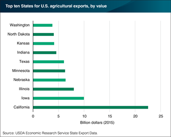 California has the highest value among U.S. States for agricultural exports