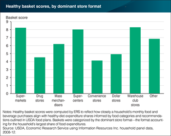Households shopping at supermarkets, supercenters, and warehouse club stores have highest healthy basket scores