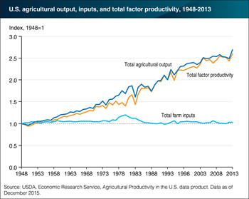 Gains in productivity have fueled the growth in U.S. agricultural output