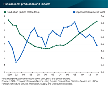 Increasing Russian meat production has led to declining imports since 2008