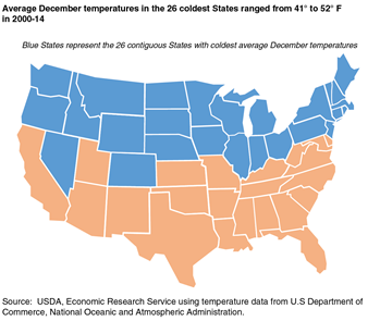 Average December temperatures in the 26 coldest States ranged from 41° to 52° F in 2000-14