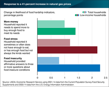 Natural gas price shocks increase the probability of food hardship