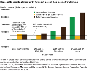 Households operating larger family farms get more of their income from farming
