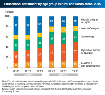 Younger adults generally have higher educational attainment than older ones