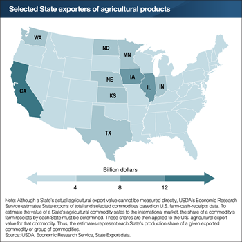 California leads all States in agricultural export value