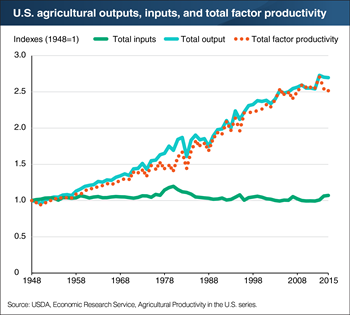 Productivity has driven the growth in U.S. agricultural output