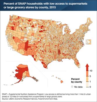 The share of SNAP households that live far from a supermarket or large grocery store varies by county