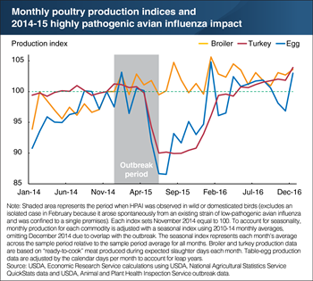 The 2014-15 highly pathogenic avian influenza outbreak significantly impacted turkey and egg producers