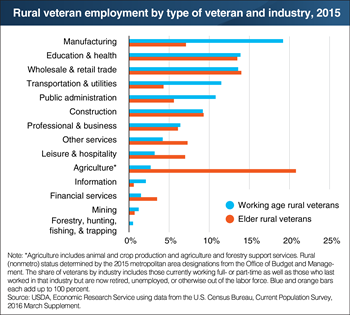 Elder veterans relied more on agriculture for employment, while working age veterans relied more on manufacturing