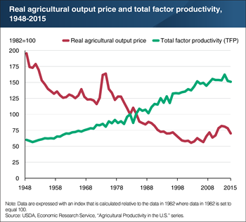 U.S. agricultural productivity continued to grow over time, while the real price of agricultural outputs tended to decline