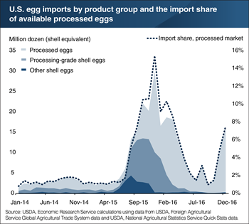 U.S. egg imports surged during and after the 2014-15 highly pathogenic avian influenza outbreak