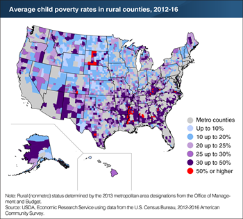 Rural child poverty was most concentrated in the Mississippi Delta