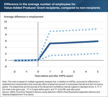 Average employment grew more rapidly for Value-Added Producer Grant recipients after receiving the grants