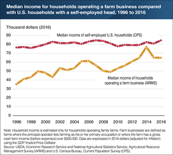 The median income of households operating farm businesses has risen over the past two decades, but remains below that of self-employed households