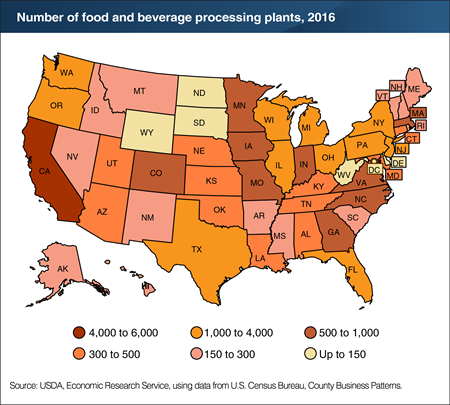 A map showing the number of food and beverage processing plants, 2016