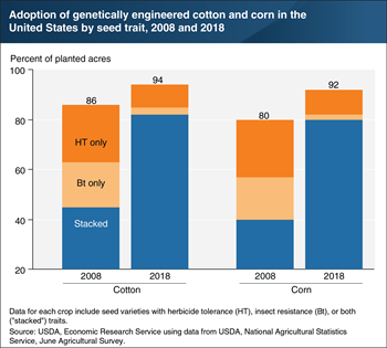 Most U.S. corn and cotton acreage in 2018 used genetically engineered seeds with stacked traits