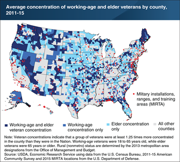 Elder veterans tend to reside in rural counties and near military bases