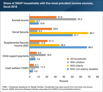 Income sources vary among SNAP households with different compositions