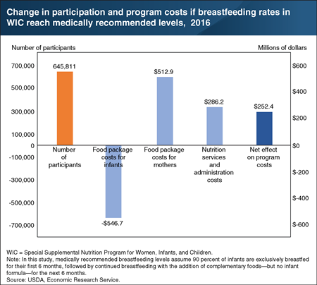 Bar chart shows change in participation and program costs if breastfeeding rates in WIC reach medically recommended levels, 2016