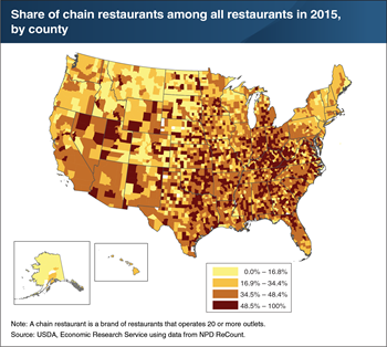 Chain outlets make up a smaller share of restaurants in the Northeast and Pacific Northwest