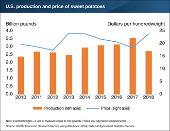 U.S. sweet potato production declined 23 percent in 2018 due to Hurricane Florence