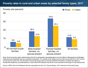 Rural families headed by single adults had higher poverty rates than urban counterparts in 2017