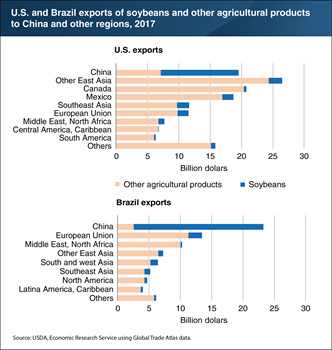 Soybeans accounted for the majority of U.S. and Brazil's agricultural exports to China in 2017