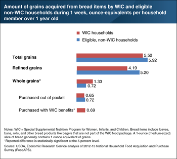 WIC households acquire more whole grains from bread items than eligible households not participating in WIC