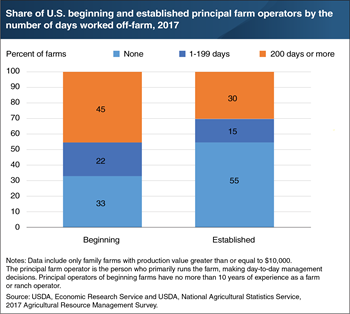 Principal operators of beginning farms were more likely to work off-farm than established operators