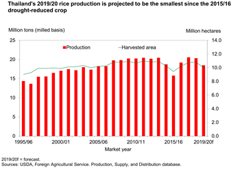 Thailand's 2019/20 rice production is projected to be the smallest since the 2015/16 drought-reduced crop.