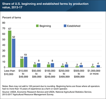 About a third of beginning farms and half of established farms produced at least $10,000 worth of output between 2013 and 2017