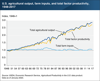 Productivity growth is the major source of growth in U.S. agricultural output